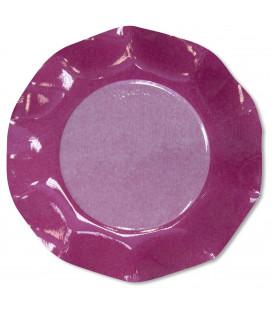 Piatti Piani di Carta a Petalo Bicolore Pink - Fucsia 21 cm