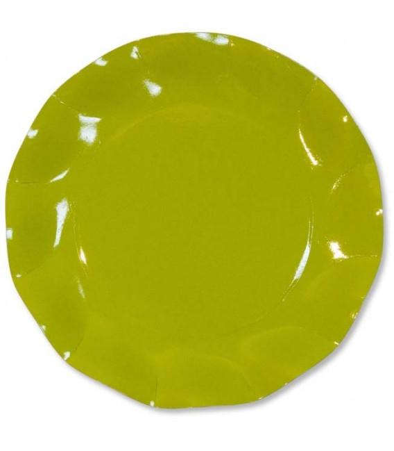 Piatti Piani di Carta a Petalo Verde Lime