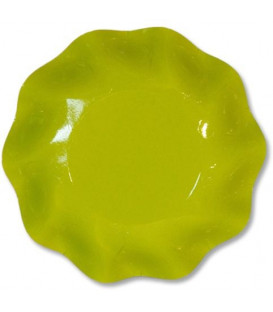 Piatti Fondi di Carta a Petalo Verde Lime 24 cm