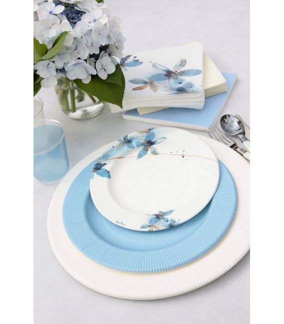 Piatti Piani di Carta a Righe Fiore Blu 27 cm
