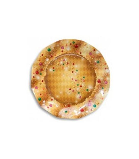 Piatti Piani di Carta a Petalo XMAS LIGHT GOLD 21 cm