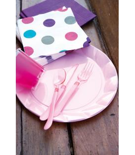Piatti Piani di Plastica a Petalo Rosa 34 cm 5 confezioni
