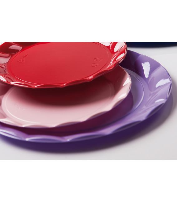 Piatti Piani di Plastica a Petalo Rosa 34 cm 2 confezioni