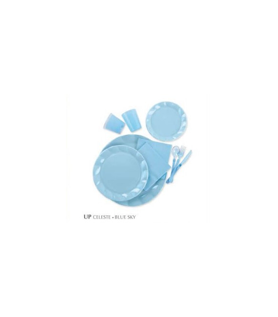 Piatti Piani di Plastica a Petalo Celeste 26 cm 2 confezioni