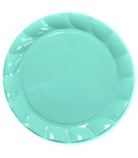 Piatti Piani di Plastica a Petalo Celeste 26 cm 5 confezioni