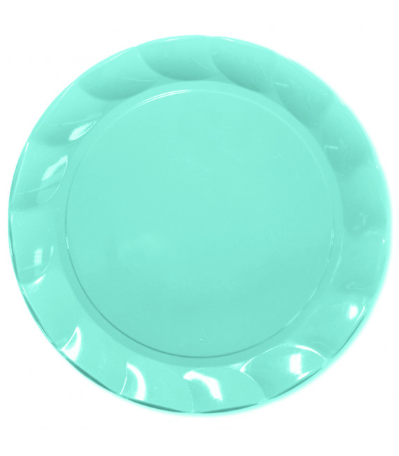Piatti Piani di Plastica a Petalo Celeste 26 cm