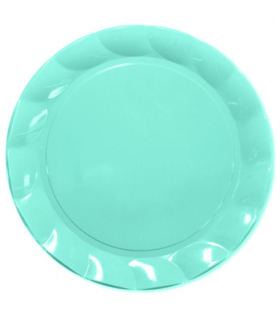 Piatti Piani di Plastica a Petalo Celeste 20 cm 2 confezioni