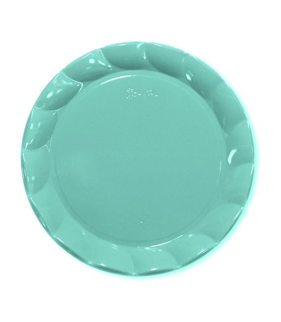 Piatti Piani di Plastica a Petalo Celeste 20 cm