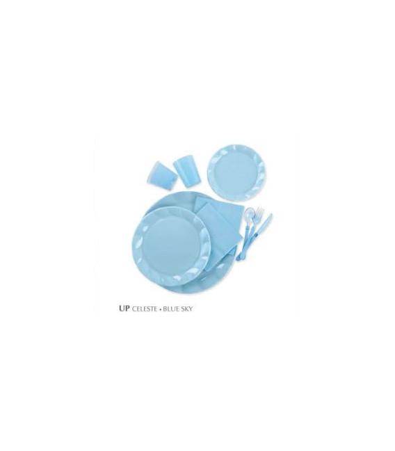 Piatti Piani di Plastica a Petalo Celeste 34 cm 2 confezioni