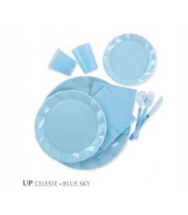 Piatti Piani di Plastica a Petalo Celeste 34 cm 5 confezioni
