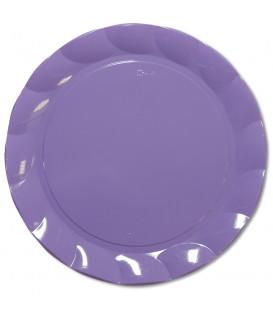 Piatti Piani di Plastica a Petalo Lilla 34 cm