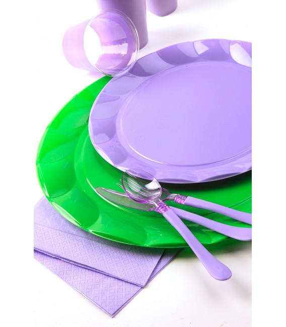 Piatti Piani di Plastica a Petalo Lilla 34 cm 2 confezioni