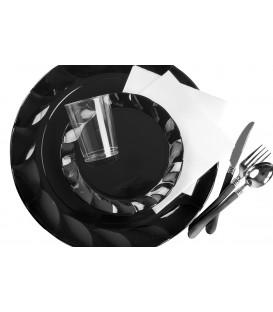 Piatti Piani di Plastica a Petalo Nero 20 cm 2 confezioni