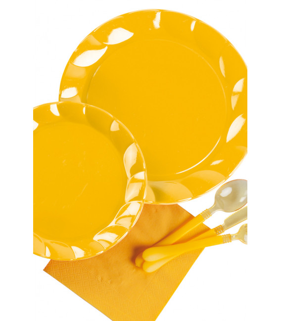 Piatti Piani di Plastica a Petalo Giallo 20 cm