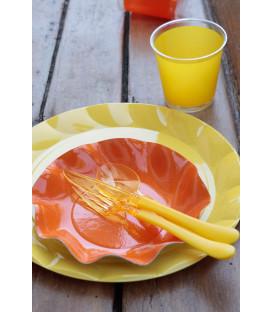 Piatti Piani di Plastica a Petalo Giallo 34 cm