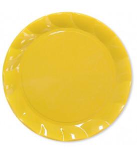 Piatti Piani di Plastica a Petalo Giallo 34 cm 5 confezioni