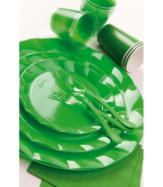 Piatti Piani di Plastica a Petalo Verde 20 cm