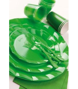 Piatti Piani di Plastica a Petalo Verde 20 cm 5 confezioni