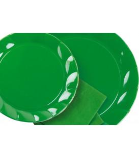 Piatti Piani di Plastica a Petalo Verde 26 cm