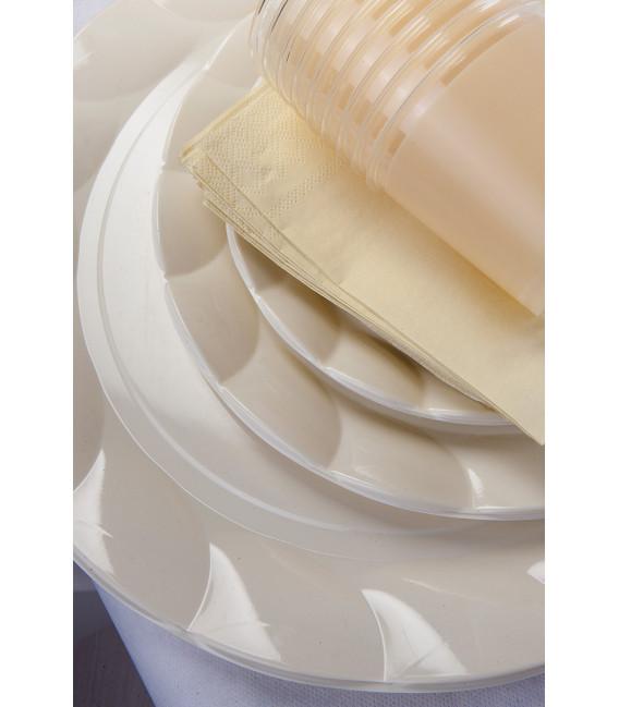 Piatti Piani di Plastica a Petalo Panna 26 cm