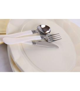 Piatti Piani di Plastica a Petalo Panna 20 cm 5 confezioni
