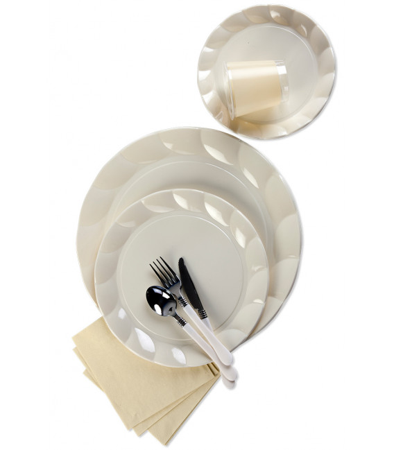 Piatti Piani di Plastica a Petalo Panna 34 cm 2 confezioni