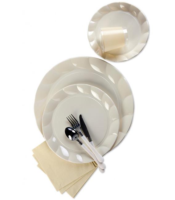 Piatti Piani di Plastica a Petalo Panna 34 cm
