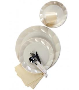 Piatti Piani di Plastica a Petalo Panna 34 cm 5 confezioni