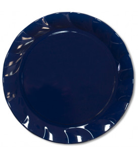 Piatti Piani di Plastica a Petalo Blu Notte 20 cm