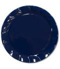 Piatti Piani di Plastica a Petalo Blu Notte 34 cm