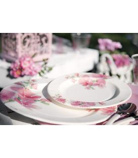 Piatti Piani di Carta a Righe Fiore Rosa 21 cm