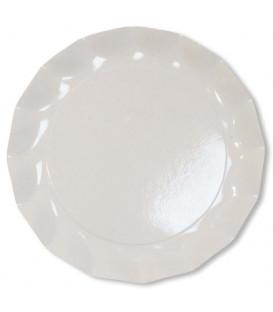 Piatti Piani di Carta a Petalo Bianco 21 cm