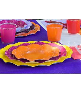Piatti Piani di Carta a Petalo Arancione 21 cm