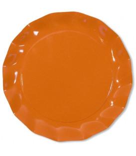 Piatti Piani di Carta a Petalo Arancione 27 cm