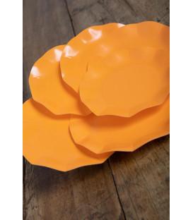 Piatti Piani di Carta Compostabile a Petalo Arancione 27 cm