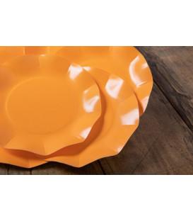 Piatti Piani di Carta Compostabile a Petalo Arancione 21 cm