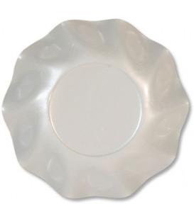 Piatti Fondi di Carta a Petalo Bianco Perlato 24 cm