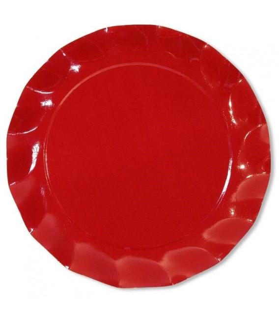 Piatti Piani di Carta a Petalo Rosso 24 cm