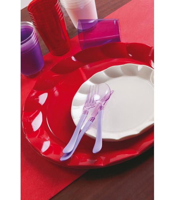 Piatti Piani di Carta a Petalo Rosso 21 cm