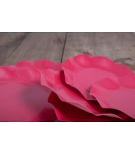 Piatti Piani di Carta Compostabile a Petalo Rosso fragola 21 cm