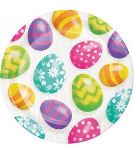 Piatto 23 cm Easter Eggs 8 pz