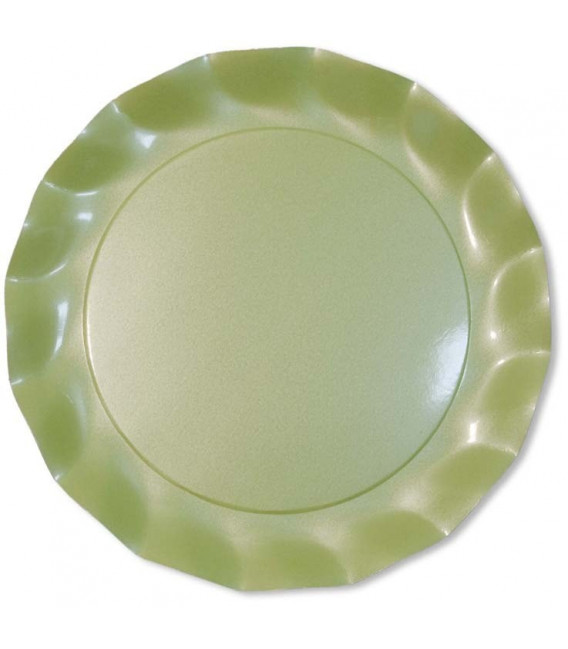 Piatti Piani di Carta a Petalo Verde chiaro Perlato 21 cm