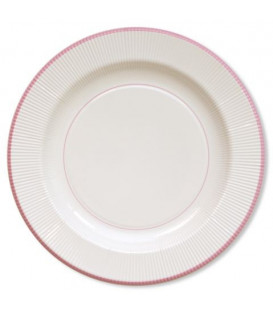 Piatti Piani di Carta a Righe Bordo Rosa Classic Pink 21 cm