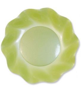 Piatti Fondi di Carta a Petalo Verde chiaro Perlato 24 cm