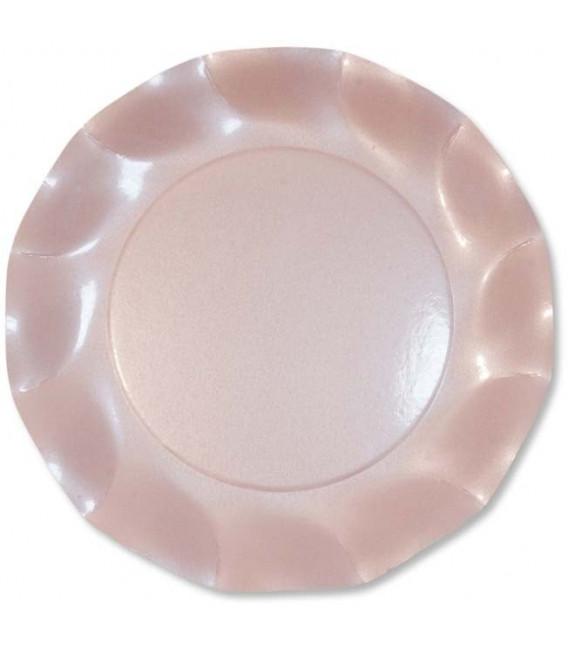 Piatti Piani di Carta a Petalo Rosa Perlato 24 cm