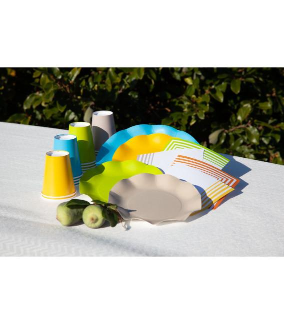 Piatti Piani di Carta Compostabile a Petalo Turchese 21 cm
