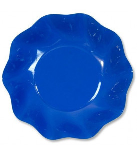 Piatti Fondi di Carta a Petalo Blu Cobalto 24 cm