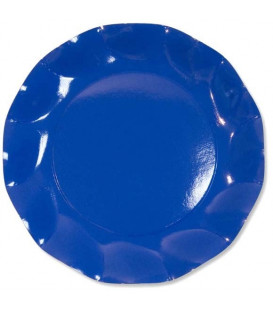 Piatti Piani di Carta a Petalo Blu Cobalto 27 cm