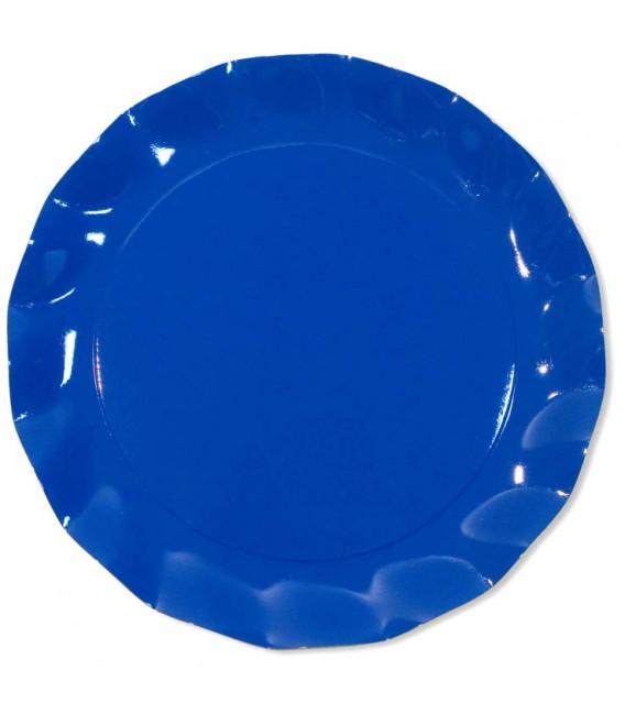 Piatti Piani di Carta a Petalo Blu Cobalto 32,4 cm