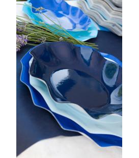 Piatti Piani di Carta a Petalo Blu Notte 21 cm